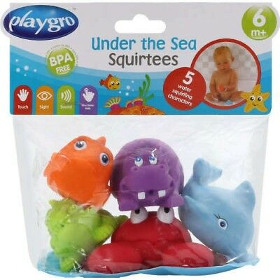 Playgro Under the Sea Squirtees 5 Pk Bath Toys Squirt Bath Toys BPA Free Playgro