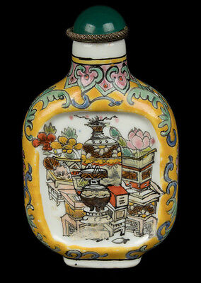China 20. Jh. - A Chinese Yellow Ground Porcelain Snuff Bottle Chinois Cinese