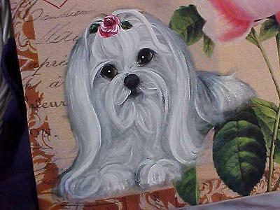 Maltese Handpainted Roses Pillow Just Gorgeous!