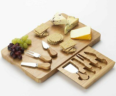 Rectangular Bamboo Cheese Board with Integrated Drawer and 4 Cheese Knives