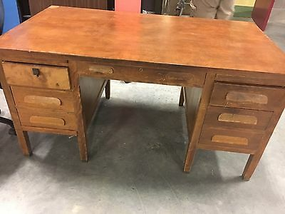 old wooden teachers desk