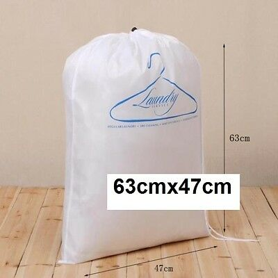 Large Drawstring White Laundry Dry Cleaning Clothes Storage Bag Home 63x47cm New
