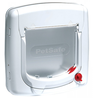 PetSafe Staywell 4 Way Locking Deluxe Cat Flap White - Suitable UPVC Glass 300EF