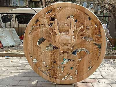 """40"""" China handwork carved Camphorwood fire dragon wall plate Sculpture statue"""