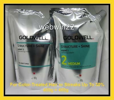 GOLDWELL STRUCTURE + SHINE Medium color treated hair straightener perm cream set