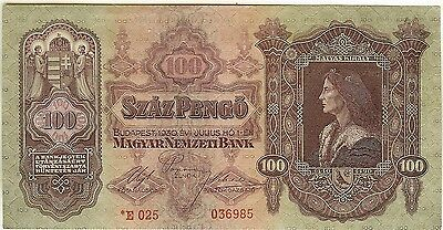 1930 HUNGARY Star Banknote 100 Pengo KING MÁTYÁS MATHIAS / Replacement Note