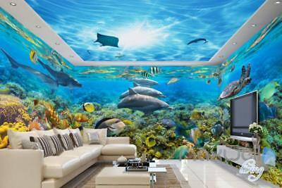 3D Dophins Playing Coral Reef Entire Living Room Bathroom Wallpaper Wall Mural D