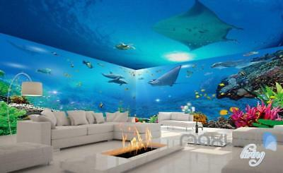 3D Ray Coral Reef Fish Entire Room Bathroom Wallpaper Wall Mural Art Decor Print