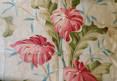 Antique Vtg. Tropical Foliage Bamboo Barkcloth Cotton Fabric ~ Coral Olive Blue