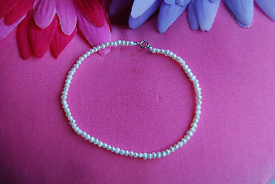 Bridal Small 2.5mm-3.5mm Creamy White Pearl Bracelet with Sterling Silver Clasp