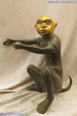 "11"" China bronze gild copper carved beautiful fine monkey king Sculpture Statue"