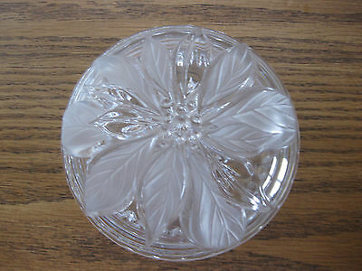 Mikasa Candy Dish Frosted Poinsettia Bowl Dish with Lid Christmas