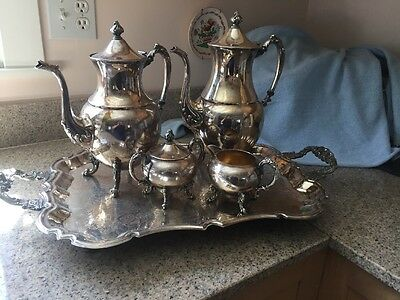SHERIDAN ANTIQUE SILVER on COPPER FOOTED COFFEE TEA SET + SERVING TRAY  5 pc.
