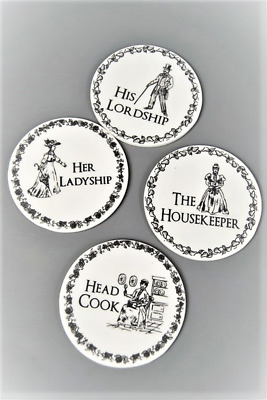 Coasters Ceramic Black and White Victorian Round Coasters - His Lordship , Head