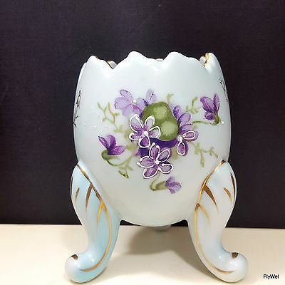 Napcoware Cracked Egg Vase Light Blue with Purple Violets Flowers and Gold Trim
