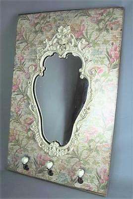 Large Vintage style Ornate Mirror with Floral Background Hooks Pink Green Cream
