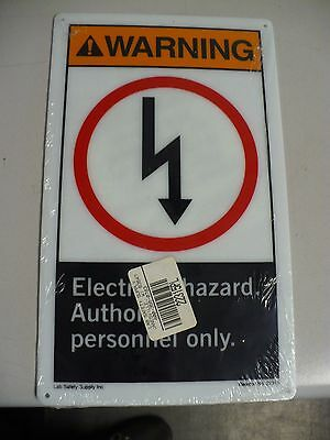 """Lab Safety Supply Warning Sign, 22315PL, 7"""" x 10"""", Electrical Hazard, New"""