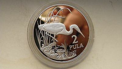 1986 Botswana 2 Pula Egret Silver Proof coin