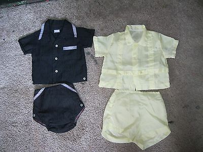 Vintage Baby Boy 2 Piece Diaper Sets With Vinyl Lined Bottoms.