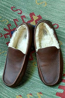 UGG Men's 12 Australia 5379 Ascot Brown Leather Sheepskin Driving Loafers Shoes