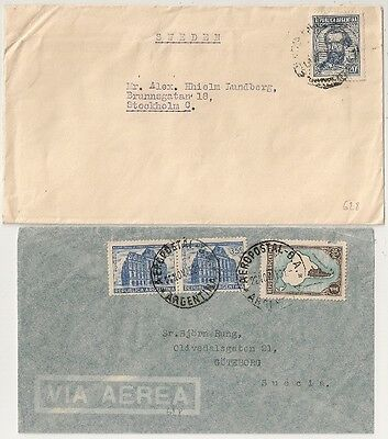 2 Covers Argentine Argentina Aeropostal B - A To Sweden. L628