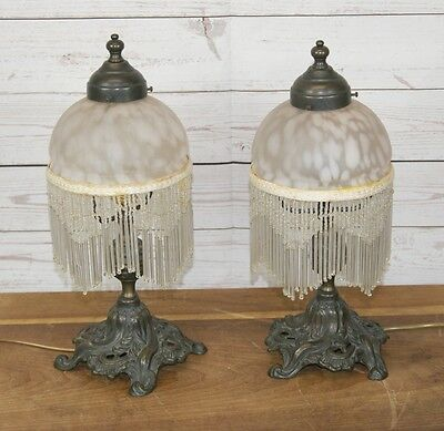 Pair Antique Art Nouveau Style Table Side Lamps Lights with Beaded Glass Shades