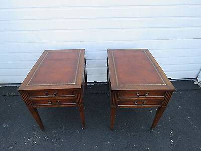 Mahogany Inlay Leather Top Pair of Nightstands End Side Tables 8466