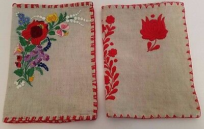 2 Vintage Hand Embroidered Folk Linen Book Covers from Hungary