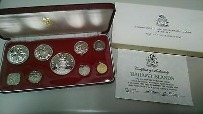 1973 Bahamas 9 coin Proof set 2.87 oz of silver
