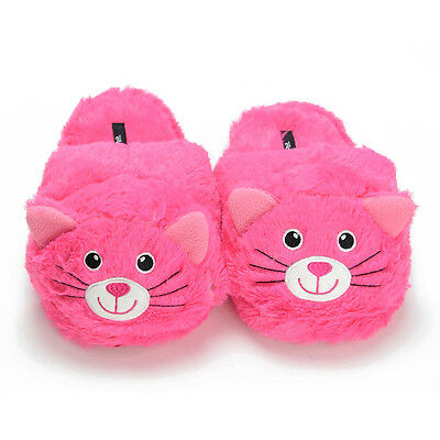 Women's Pink Cat Animal Slippers - soft cozy warm indoor home lady slipper shoes