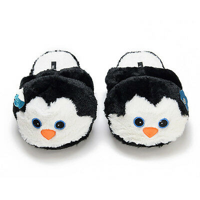Women's Penguin Slippers - soft cozy black white animal slipper shoes