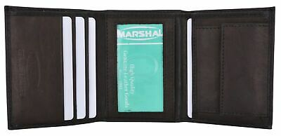 Small Children Black ID Card Holder Coin Pocket Trifold Genuine Leather Wallet
