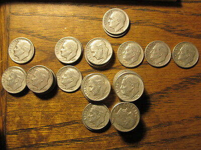 Pre 1965 Dimes Mixed Lot Of 50