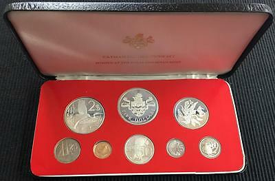 1976 Cayman Islands Set 8 Proof Coins 4 Silver 2.77 OZ ASW In Box w/COA
