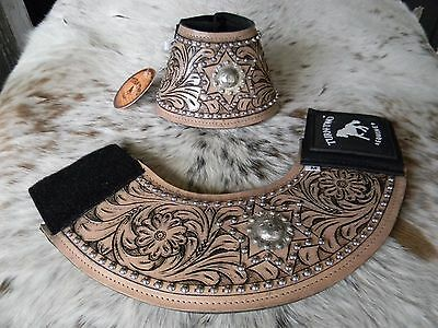 Floral Tooled Leather No Turn Bell Boots w/Concho Rodeo & Trails New Horse Tack