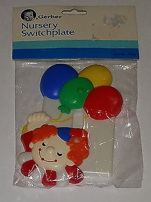NEW VTG Clown Gerber Nursery Switchplate Baby Room Decor Plastic Balloons 1983