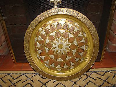 Heavy Vintage Islamic Wall Charger Tray Brass / Copper / White Metal
