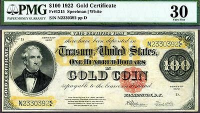 RARE $100 1922 GOLD CERTIFICATE Fr 1215 GOLD COIN NOTE PMG VF-30 PROBLEM FREE