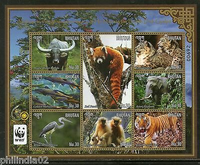 Bhutan 2015 WWF Panda Leopard Tiger Langur Wildlife Animals Birds M/s MNH # 9042