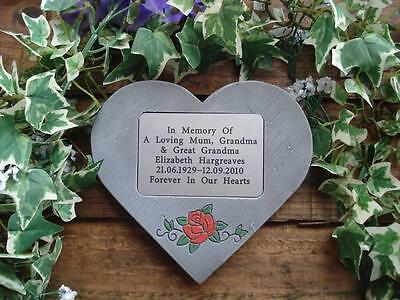 Personalised Rose Design Memorial Stone Heart / Grave Marker for Garden/Cemetery