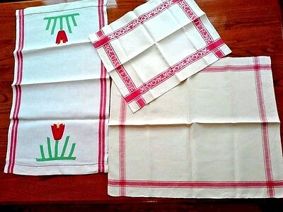 Lot of 3 Vintage RED AND WHITE COTTON LINENS, Runner, Towels, One Appliqued