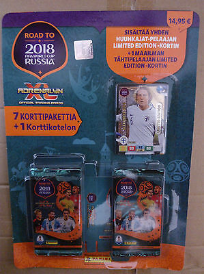 Adrenalyn XL Road to Russia 2018, Panini, aus Finnland, 7 Booster, 2 ltd. Cards