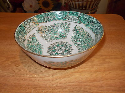 "5"" Japanese Porcelain Ware Hand Painted Teal Bowl Decorated Hong Kong ISCO A"