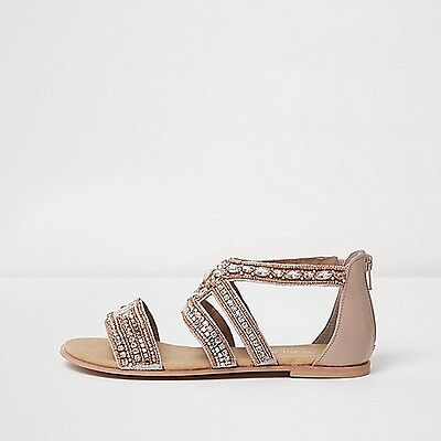 River Island Rose Gold Embellished Sandal  (Wide Fit)