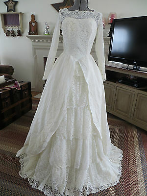 Vtg.  Lace Satin Taffeta Wedding Gown Stunning!