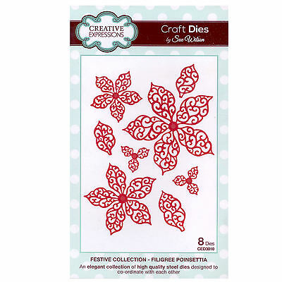 Creative Expressions Sue Wilson Festive Collection FILIGREE POINSETTIA  CED3010
