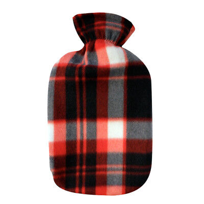 Fleece Cover Hot Water Bottle - Red, Black, White Plaid by Fashy (2l Water)