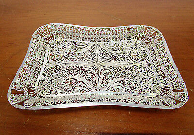 """Antique Ornate Continental Solid Silver Art Nouveau 4.25"""" Trinket Tray 31 Grams"""