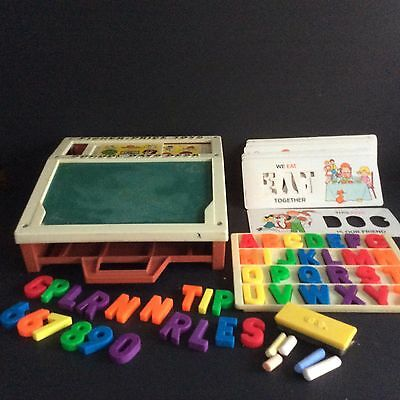 Vintage Fisher Price School Days Desk 1972 #176 Letters Stencils Numbers