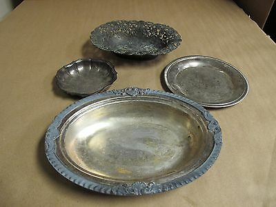 4x Vintage Silverplated Bowls Serving Dishes Candy Dishes Brass Bowl Italy